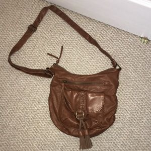 cossbody hobo faux leather purse brown